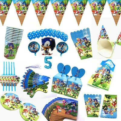 All New Sonic The Hedgehog Hat Plate Flag Party Tableware Birthday Decors Supply • 3.99£