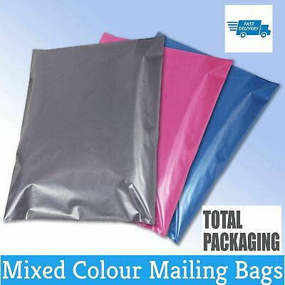 £4.69 • Buy 50 Mixed Mailing Postage Bags Grey Pink Blue In 4 Sizes    Coloured Post Mail