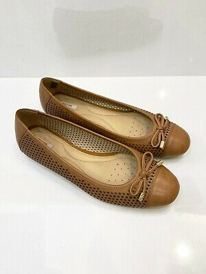 £45 • Buy GEOX Respira Perforated Breathable Tan Brown Ballet Flat Pumps Shoes  - UK 5.5