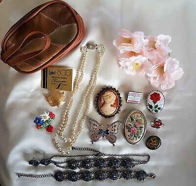 Job Lot Vintage &Vintage-Style Cameo, Brooches Necklace, Patchwork Leather Purse • 4.99£
