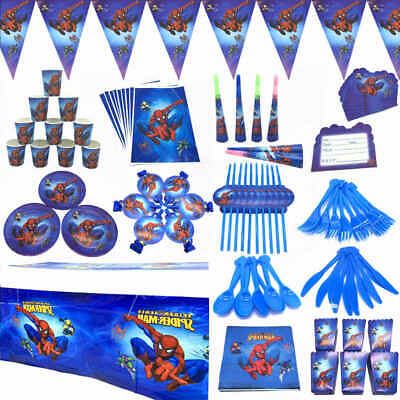 Spiderman Birthday Horn Flags Tableware Tablecover Banner Kid Party Decorations • 3.99£