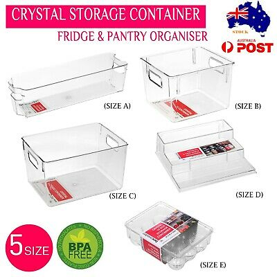 AU19.55 • Buy 2/4/6 Crystal Container Stackable Acrylic Fridge Storage Tray Set Clear  Food