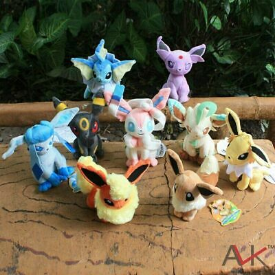 £8.90 • Buy 8  Pokemon 9 Character Eevee Stand Plushie Plush Doll Soft Toy Kids Cute Gift