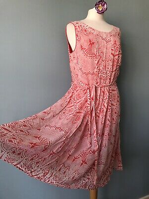 £14.99 • Buy Monsoon Coral And White Sleeveless Abstract Print Summer Dress Size 12