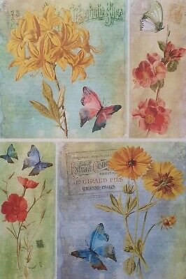 £1.99 • Buy Rice Paper For Decoupage Scrapbook Craft Flowers Mix Butterfly 1024