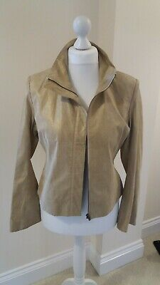 £17 • Buy Ladies CCDK Suede Leather Cream/gold Jacket Coat In Size 14