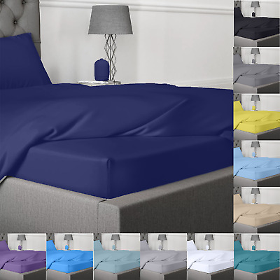 £12.99 • Buy Fitted Sheet Bed Sheets 400TC Egyptian Cotton Single Double King Super King Size
