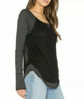 $ CDN37.44 • Buy We The Free Anthropologie Friday Feeling Black & Gray Layered Thermal Tee Size S