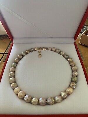 AU250 • Buy Rare Large Ripple Kasumi Pearls Necklace - 45 Cm With 4 Cm Extension Chain