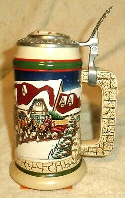 $ CDN47.19 • Buy BUDWEISER, 1998, Lidded Holiday Beer Stein, Signed, Ceramarte Unwased & Pristine