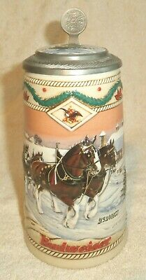 $ CDN47.19 • Buy BUDWEISER, 1996, Lidded Holiday Beer Stein, Signed, Ceramarte Unwased & Pristine