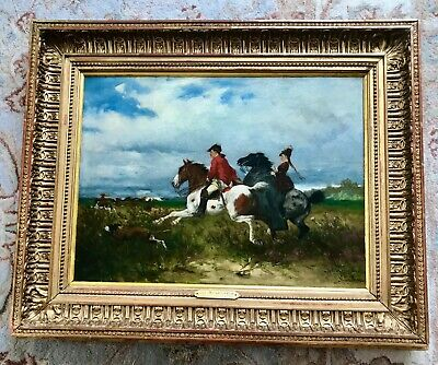 £650 • Buy JULIUS SCHGOER (1847-1885)  The Chase  An Original Framed & Signed Oil On Canvas