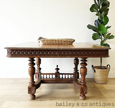 AU1175 • Buy Antique French Extension Dining Table Henri II Carved Oak - SF053c