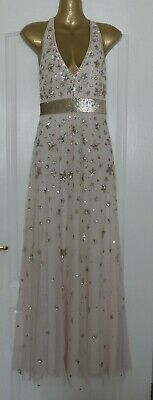 £40 • Buy Stunning Monsoon 'Laura' Nude Star Sequin Maxi Dress Sizes 8 & 12 NEW RRP £170