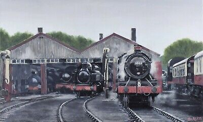 £195 • Buy DIDCOT - REALISTIC STEAM TRAIN OIL PAINTING 20  X 12  Unframed
