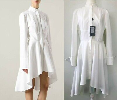 AU479 • Buy Authentic New With Tags ALEXANDER MCQUEEN White Tuxedo Piquet Shirt Dress