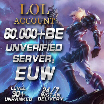 £4.69 • Buy League Of Legends Account EUW LOL Smurf 60.000-70.000 BE IP Level30+ Unranked PC