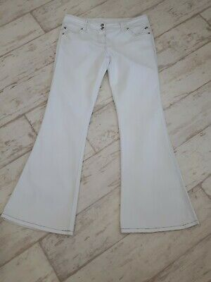 £9.99 • Buy Dorothy Perkins White Flare Cotton Blend Jeans 14R