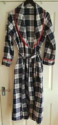 M&S Black/Red Plaid Check Tartan Long Dressing Gown UK10-12 Red Piping Tie Waist • 9.99£