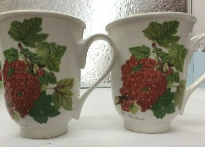 £10 • Buy Pair Of Portmeirion Pomona Mugs Red Current Design