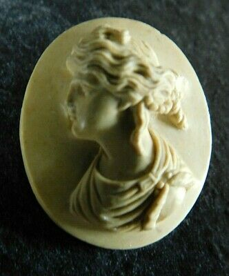 Antique Carved Classical Lava Cameo Plaque / Panel  For Brooch / Pin / Bracelet • 10.50£