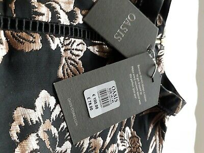 £25 • Buy Brand New Oasis Black & Gold Jacquard Occasion Dress Size 16 With Tags