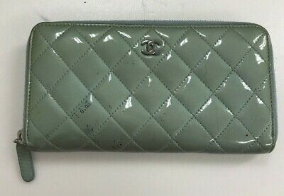 $ CDN1.21 • Buy Authentic Vintage Chanel CC Logo Blue Patent Leather Long Zip Around Wallet