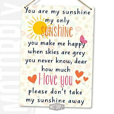 £6.89 • Buy Metal Wall Sign - You Are My Sunshine Hearts - Love Girl Friends Gift Family