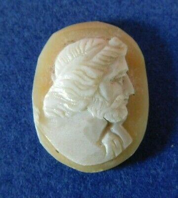 1.2 X 1.7 Cm Antique Carved Shell Cameo Plaque For Brooch / Bracelet / Necklace • 10£