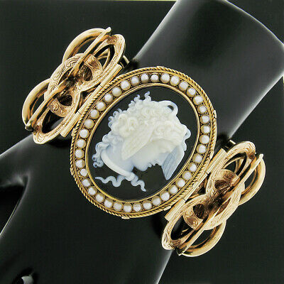 Antique Victorian 14K Gold LARGE Black Onyx Cameo & Pearl Hand Engraved Bracelet • 5,334.21£