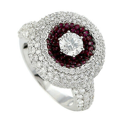 AU8353.91 • Buy Solitaire With Accents Ring Size 6.5 Ruby Gemstone Studded Diamond 18k Gold