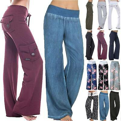 AU32.59 • Buy Womens Palazzo Boho Baggy Long Pants Ladies Casual Wide Leg Trousers Plus Size