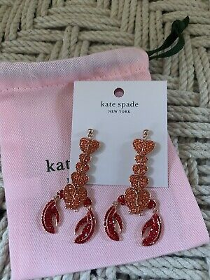 $ CDN68.16 • Buy Kate Spade Love Shack Lobster Statement Red Heart Sparkle Statement EARRINGS NWT