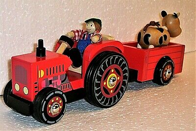 £24.99 • Buy Farm Tractor With Trailer, Farmer And Cow.  Wooden Toy.