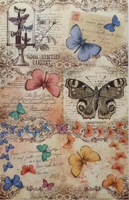 £1.99 • Buy Rice Paper For Decoupage Scrapbook Butterfly Insect Old Letters 1041