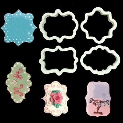 4x Plaque Frame Border Cookie Cutter Fondant Cake Biscuit Dough Pastry Mold Tool • 3.88£