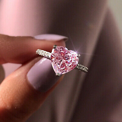 £2.34 • Buy Heart Cut Cubic Zirconia 925 Silver Rings Engagement Jewelry Gifts Sz 6-10