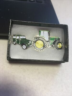 Pin Badges Green Tractor And Green Land Rover Lovely Gift • 5£