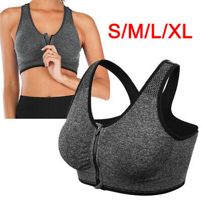 £4.86 • Buy Sports Bra Padded Womens Ladies Front Zip Yoga Cami Push Up Vest Support Top UK