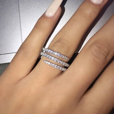 £1.69 • Buy Infinity Jewelry 925 Silver Rings Cubic Zirconia For Women Party Rings Size 6-10