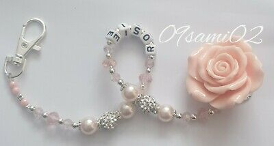 £6 • Buy Bling Rose Shamballa & Crystal Romany Dummy Clip Personalised Pale Pink !!❤❤