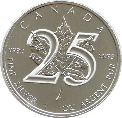 2013 Canada Maple Leaf 25th Anniversary $5 Five Dollar .9999 Silver 1oz Coin • 25£