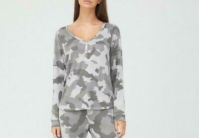 V By Very Henley Pyjamas Top Camo Grey Size 16/18 New With Tag TOP ONLY • 9.99£