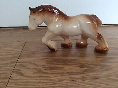 SMALL POTTERY WHITE SHIRE HORSE FIGURINE WITH BROWN  MANE AND FEET -10cm • 3£