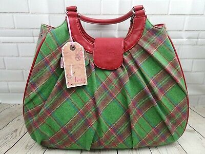 £29.95 • Buy Large Ness Pamala Green & Red Wool Tartan Tote Bag, New With Tags, Beautiful