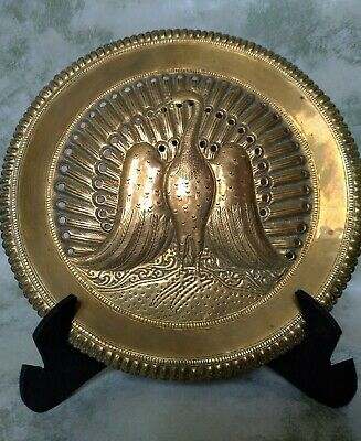 £20 • Buy Antique Peacock Brass Plate Wall Hanging Art