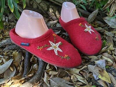 Haflinger Boiled Wool Slippers Floral Comfort Shoes Womens Size 40 US 9 Red • 28.25£