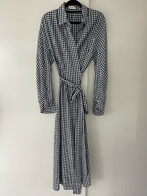 AU100 • Buy Scanlan & Theodore Gingham Check Blue & White Wrap Dress-Size SM-Excellent Cond