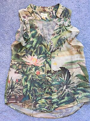 £6 • Buy H&M Ladies Conscious Collection Tropical Print Sleeveless Shirt - Size 6