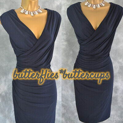 $ CDN59.83 • Buy ~ ARIELLA LONDON ~ Size 14 Grecian Style Navy Blue Ruched Dress Mother Of Bride